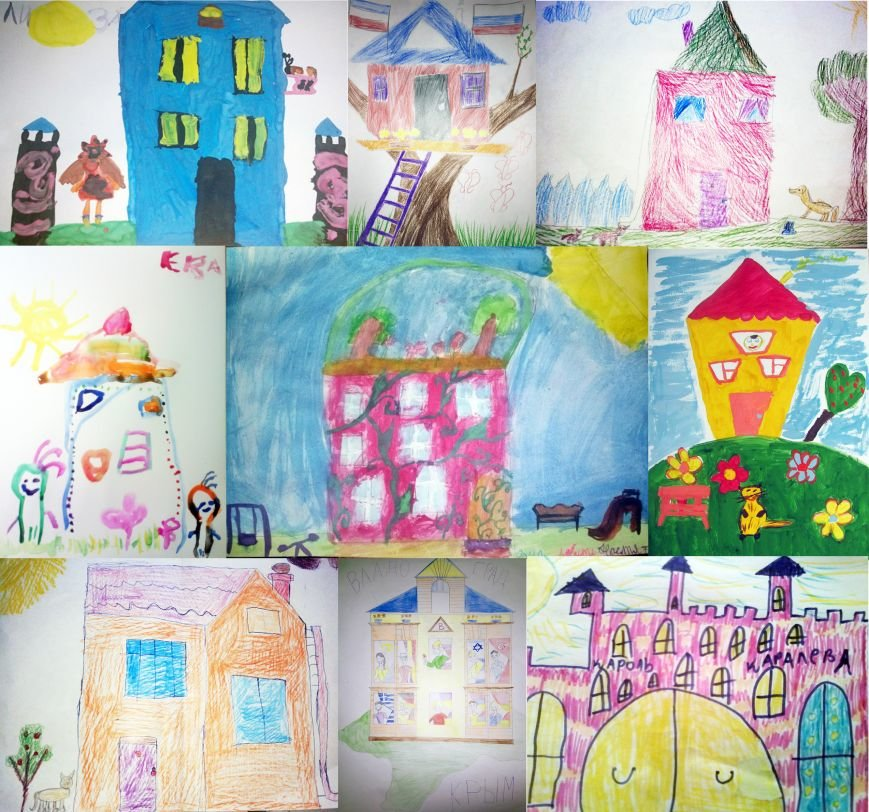 коллаж детских рисунков