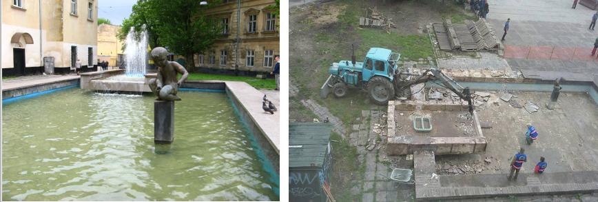 У Львові знесли фонтан на площі Митній (ФОТО) (фото) - фото 1