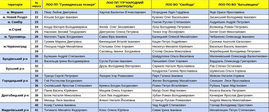 Зареєстровані кандидати в депутати Львівської облради. Повний список (фото) - фото 5