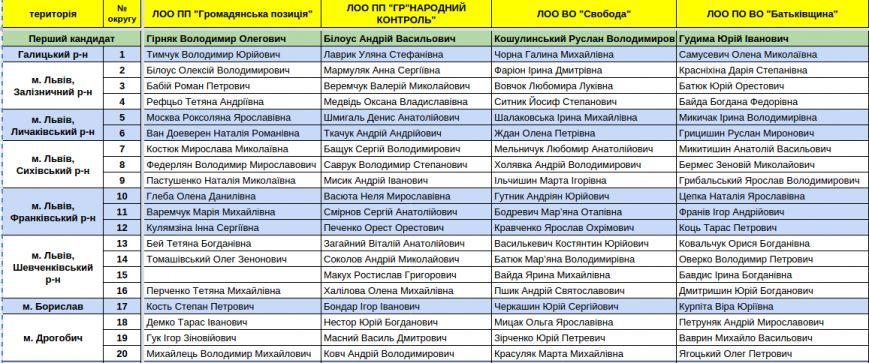 Зареєстровані кандидати в депутати Львівської облради. Повний список (фото) - фото 1