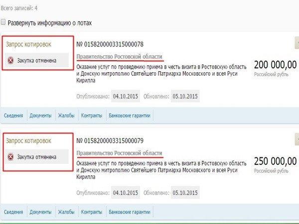 По случаю приезда патриарха Кирилла в Новочеркасск хотели организовать банкет за 450 000 рублей, фото-1