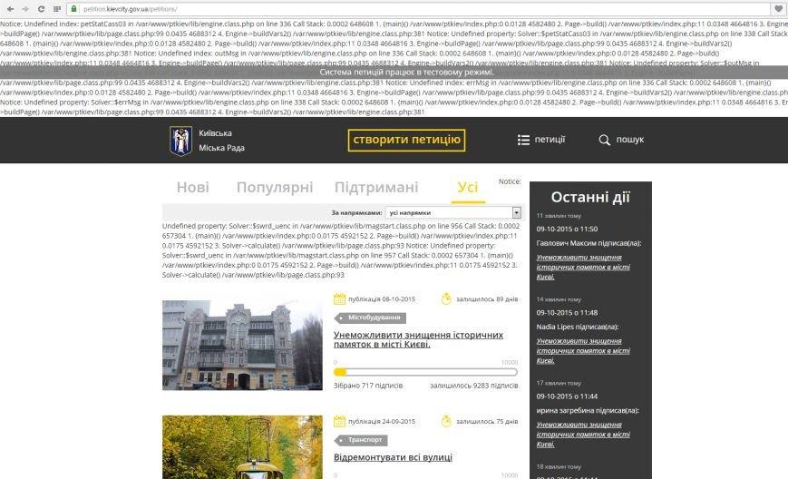 """Сайт электронных петиций КГГА """"лег"""", а новые документы не обрабатываются, фото-1"""