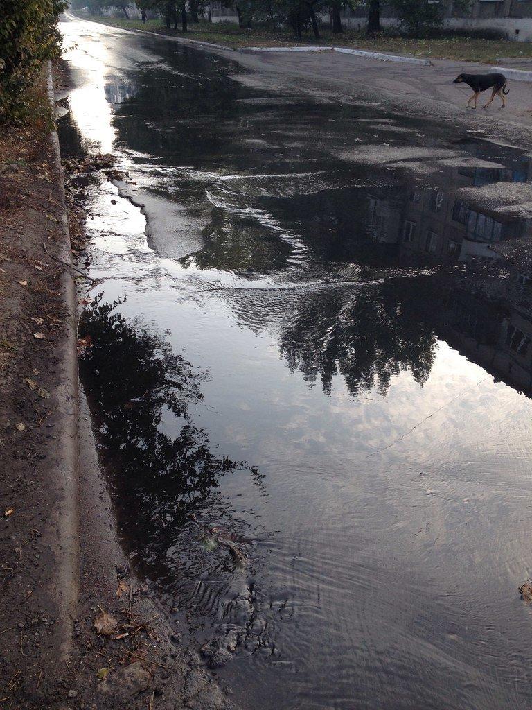 Наводнение на улицах Доброполья: очередная коммунальная авария, фото-1