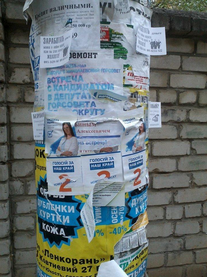 В день выборов на улицах Николаева продолжает висеть политическая агитация (ФОТО) (фото) - фото 2