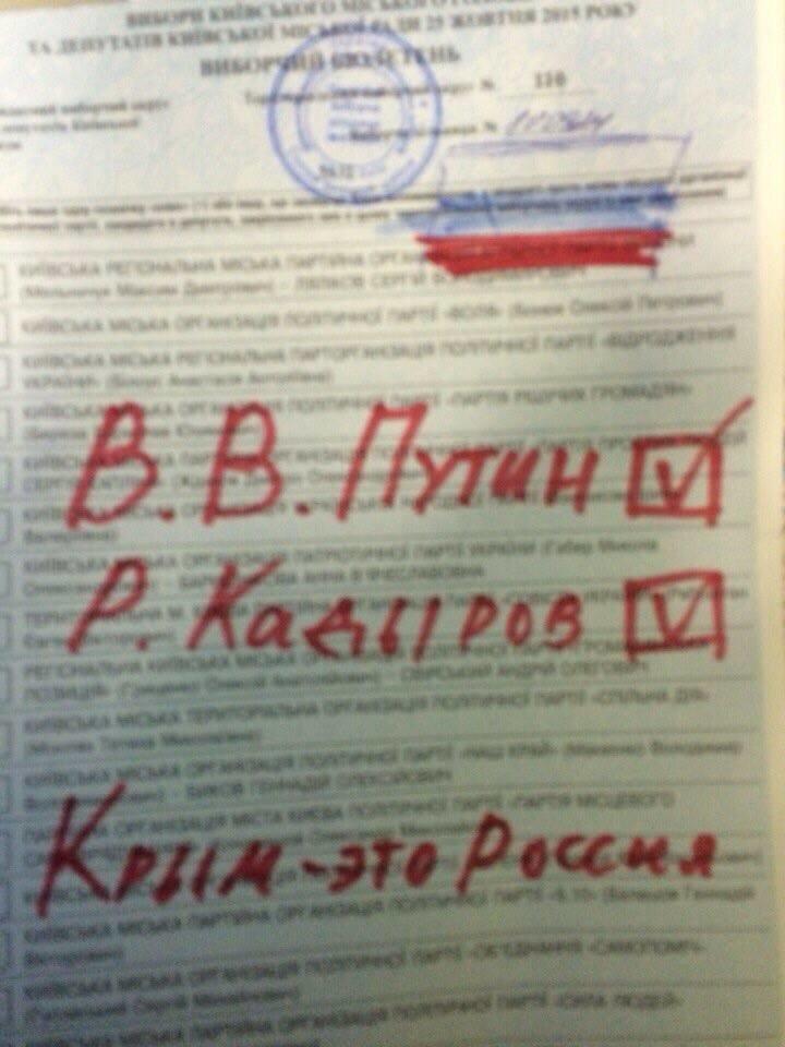 Украинцы на выборах голосовали за Путина и Кадырова (ФОТОФАКТ) (фото) - фото 1