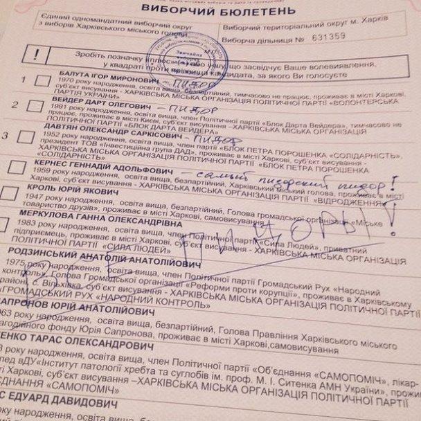 За ВДВ, за маму, за Джона Сноу: у мережі з'явилися фото зіпсованих бюлетенів на виборах 2015 (фото) - фото 15