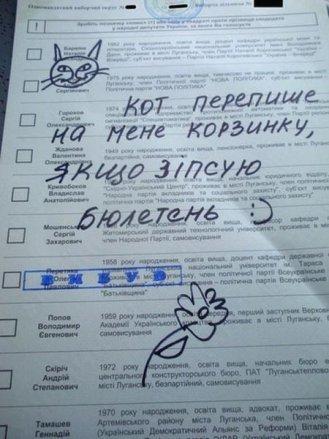 За ВДВ, за маму, за Джона Сноу: у мережі з'явилися фото зіпсованих бюлетенів на виборах 2015 (фото) - фото 6