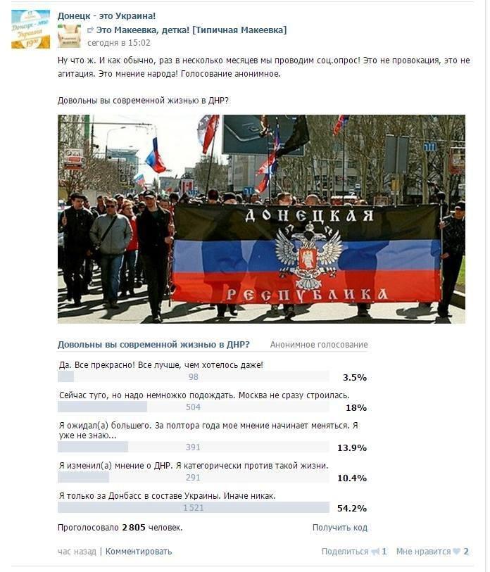 В соцсетях жители «ДНР»  голосуют за возвращение Донбасса в состав Украины (фото) - фото 1