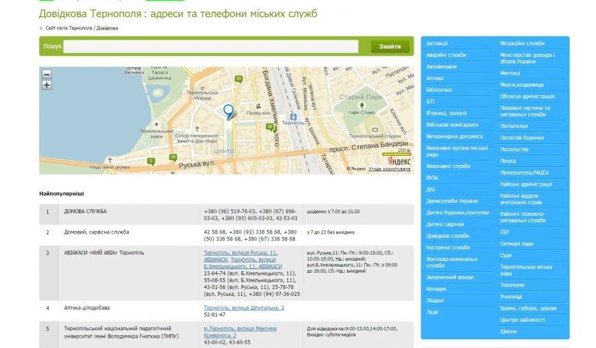 У рубриці «Довідкова» тернополяни можуть отримати усю необхідну контактну інформацію щодо міських служб (фото) - фото 1
