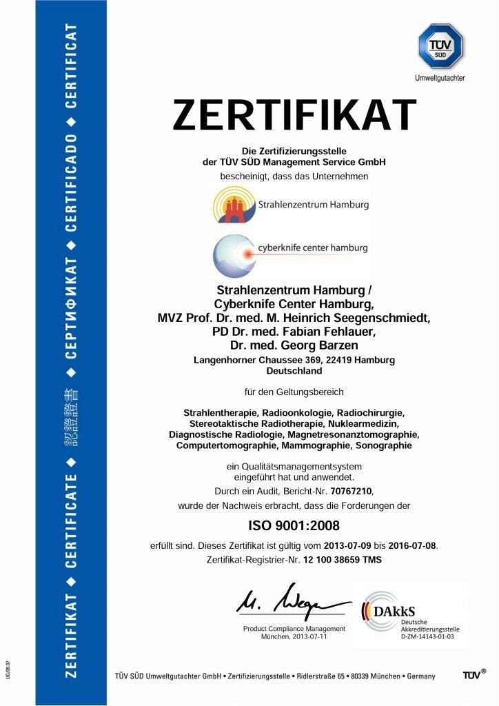 Сертификат качества лечения онкологической клиники Германии