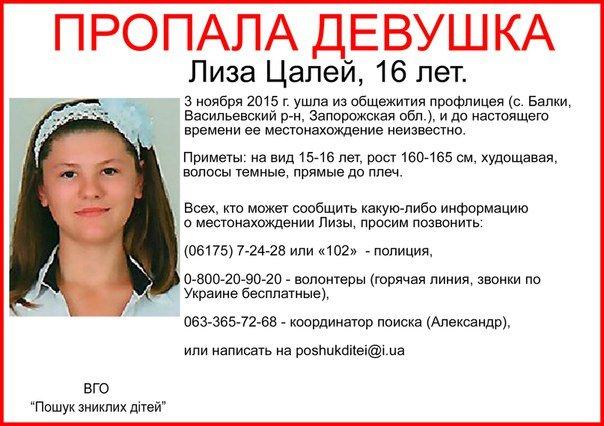 В Запорожской области волонтеры выйдут на поиски пропавшей 16-летней девушки (фото) - фото 1
