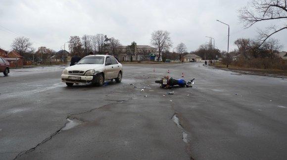 Ланос и мотоцикл не поделили дорогу в Александрии. ФОТО (фото) - фото 1
