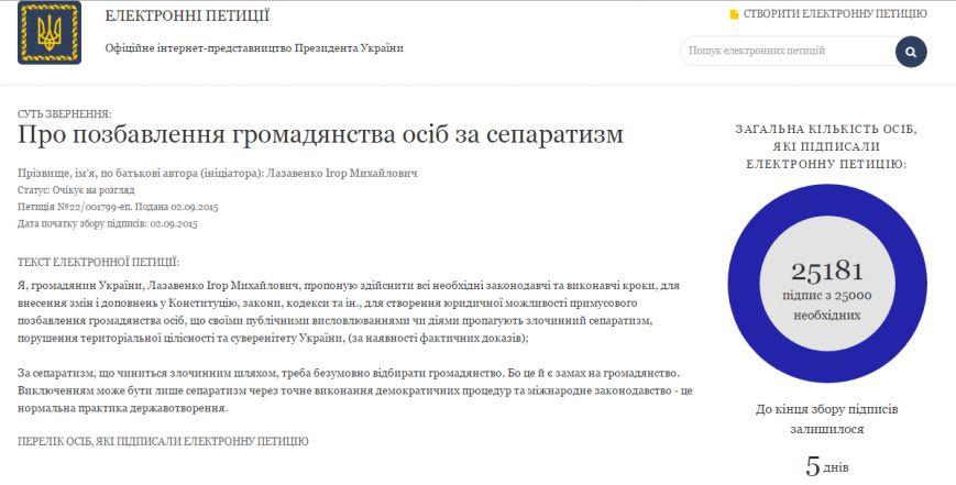 Петиция о лишении гражданства Украины за сепаратизм набрала 25 тыс. подписей (фото) - фото 1