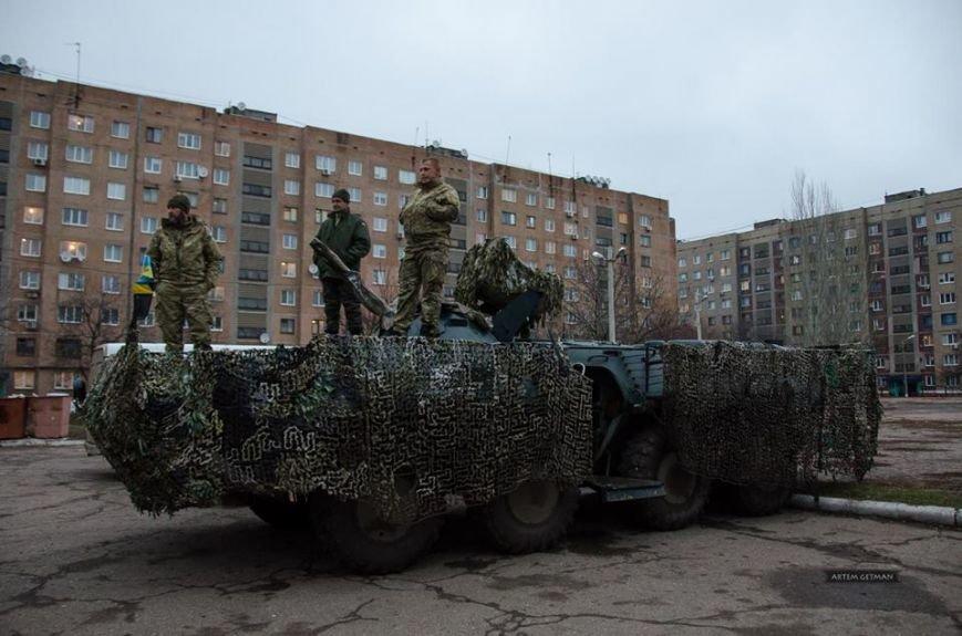 Военные на БТРе побывали в краматорской школе (ФОТО), фото-1