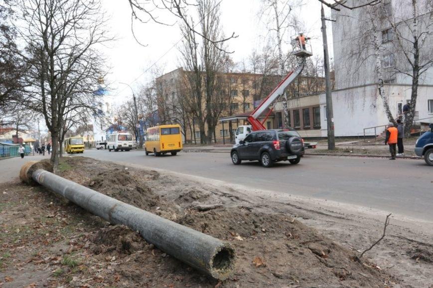 До конца недели в Чернигове закончат демонтаж опор для новой троллейбусной линии, фото-4