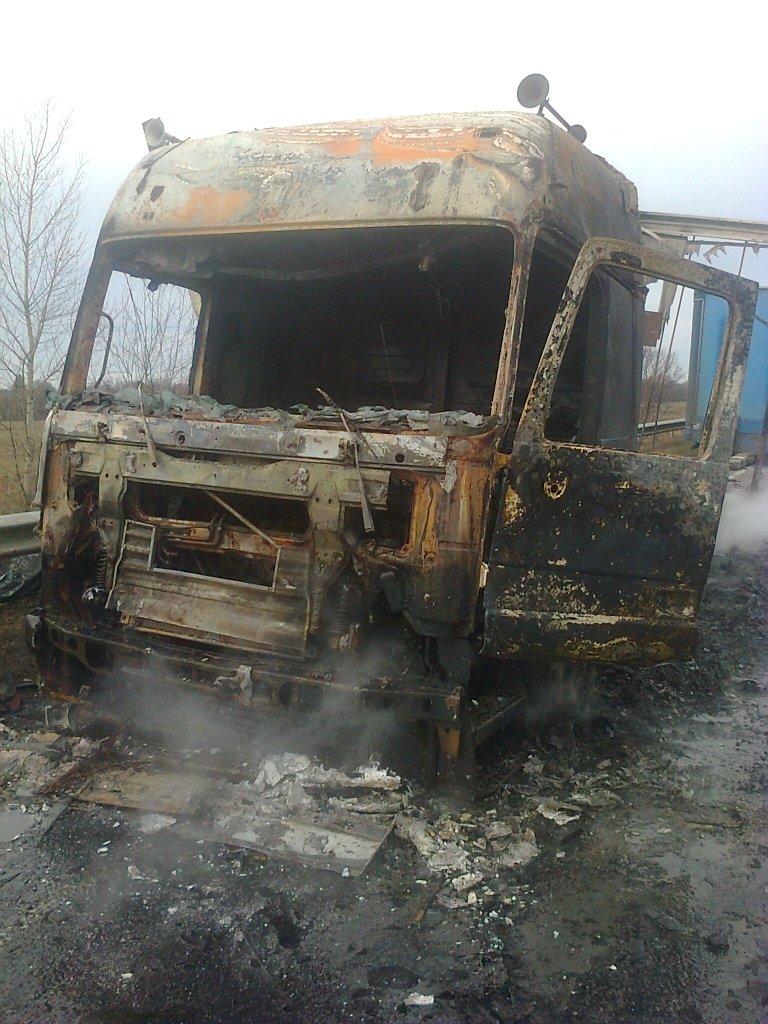 Фура сгорела дотла на трассе под Черниговом (фото) - фото 1