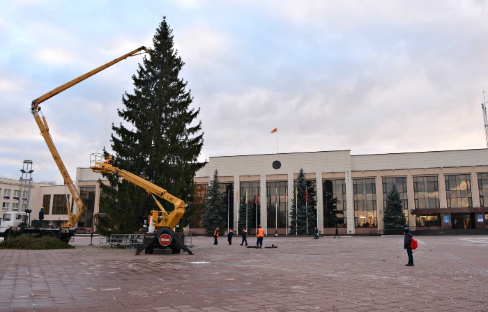 В Новополоцке украшают городскую елку, фото-3