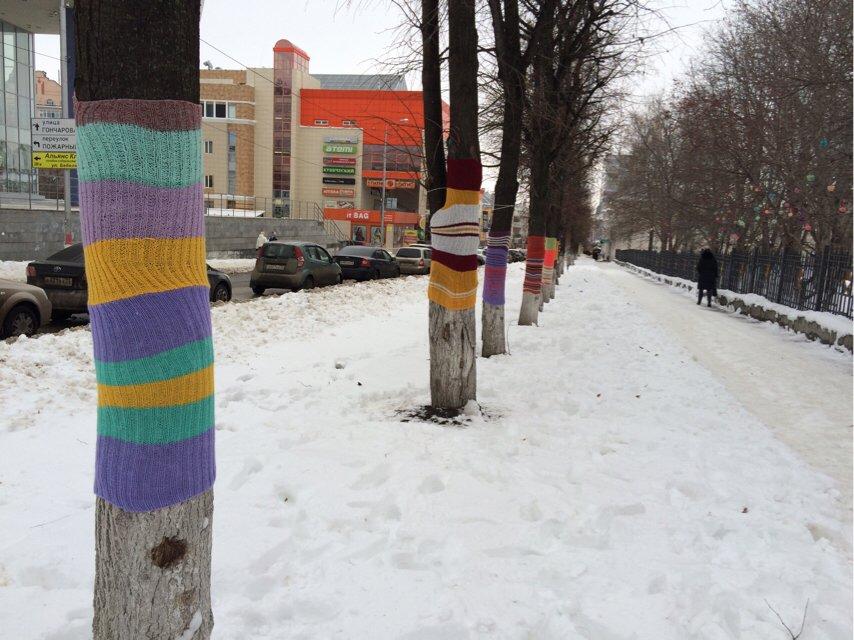 Ульяновские ярнбомберы утепляют деревья шарфами и гетрами, фото-6