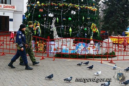 Полицейские взяли под охрану новогодние елки во всех районах Мариуполя (ФОТО), фото-1
