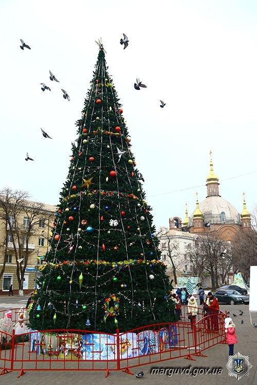 Полицейские взяли под охрану новогодние елки во всех районах Мариуполя (ФОТО), фото-5