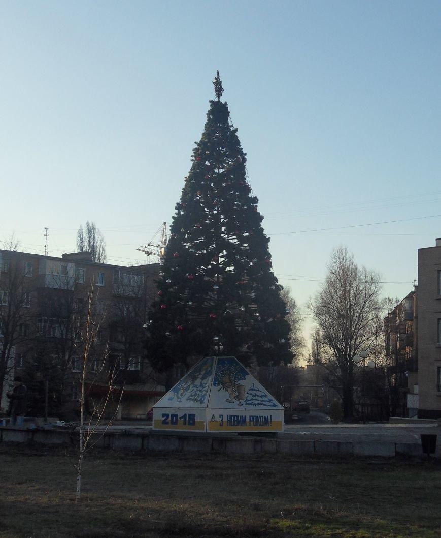 У Ленінському районі Полтави вітер зламав штучну ялинку, замість неї встановлять живе дерево (ФОТОФАКТ) (фото) - фото 1