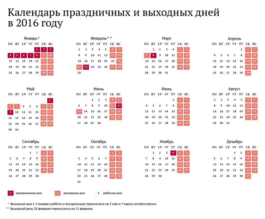 календарь авыходных