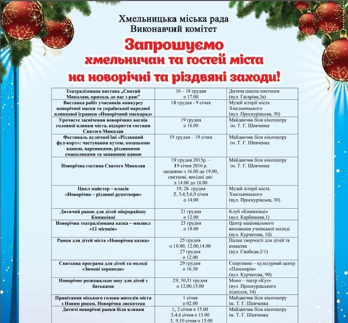 Як хмельничани Новий рік святкуватимуть: офіційна програма свята (фото) - фото 1