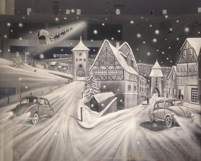 Маленькое рождественское чудо: картины на окнах одной из детских больниц, фото-4