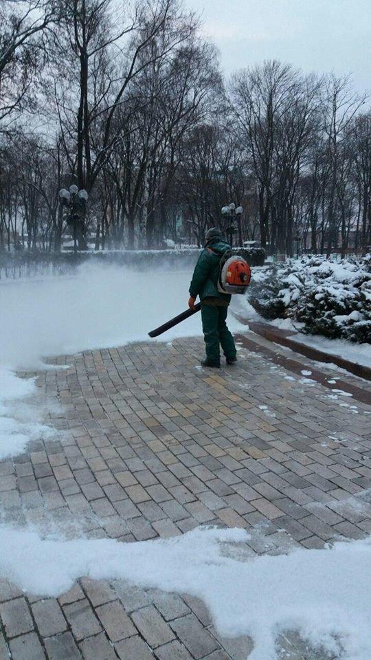 В Киеве убирают снег воздуходувами (ФОТОФАКТ), фото-1