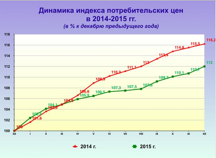 Белстат: инфляция в 2015 была ниже прогнозируемой, но цены на отдельные товары выросли почти на 40% (фото) - фото 1