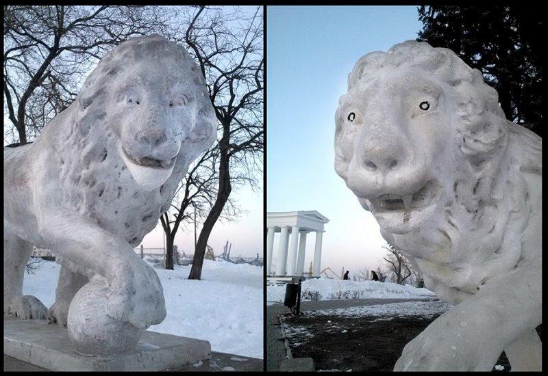 Вандалы обезобразили львов у одесского Воронцовского дворца (ФОТО) (фото) - фото 1