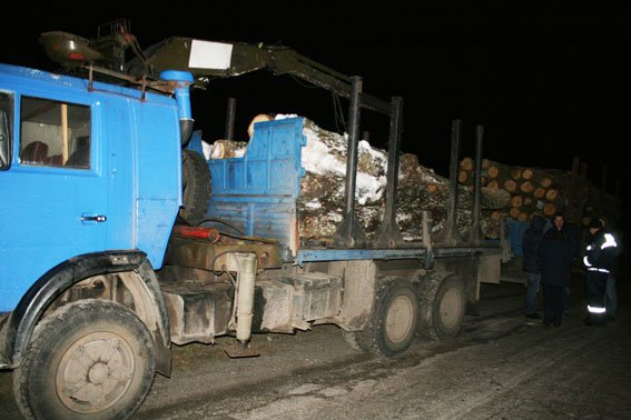 Два КамАЗа с «левой» древесиной поймали в Черниговской области (фото) - фото 1