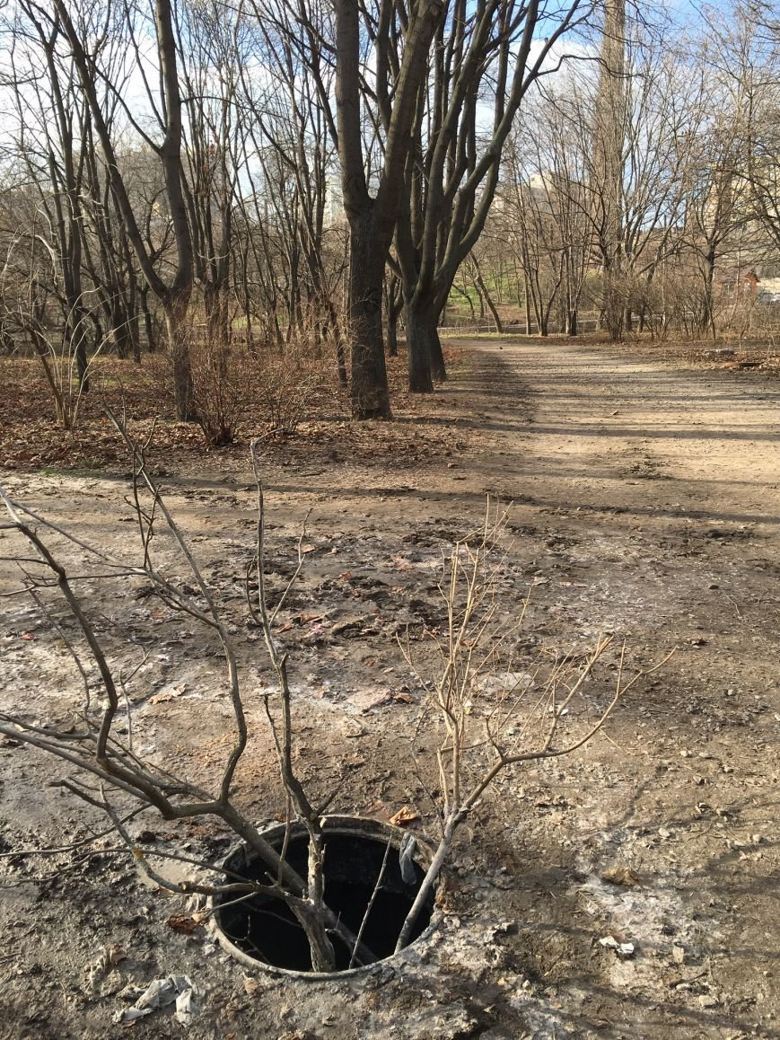 94dfe0c63763b5f46b192278923f9e6d В одесском парке ямы есть, а крышки люков исчезли
