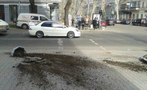 В центре Одессы машина разворотила цветочные клумбы (ФОТО) (фото) - фото 1