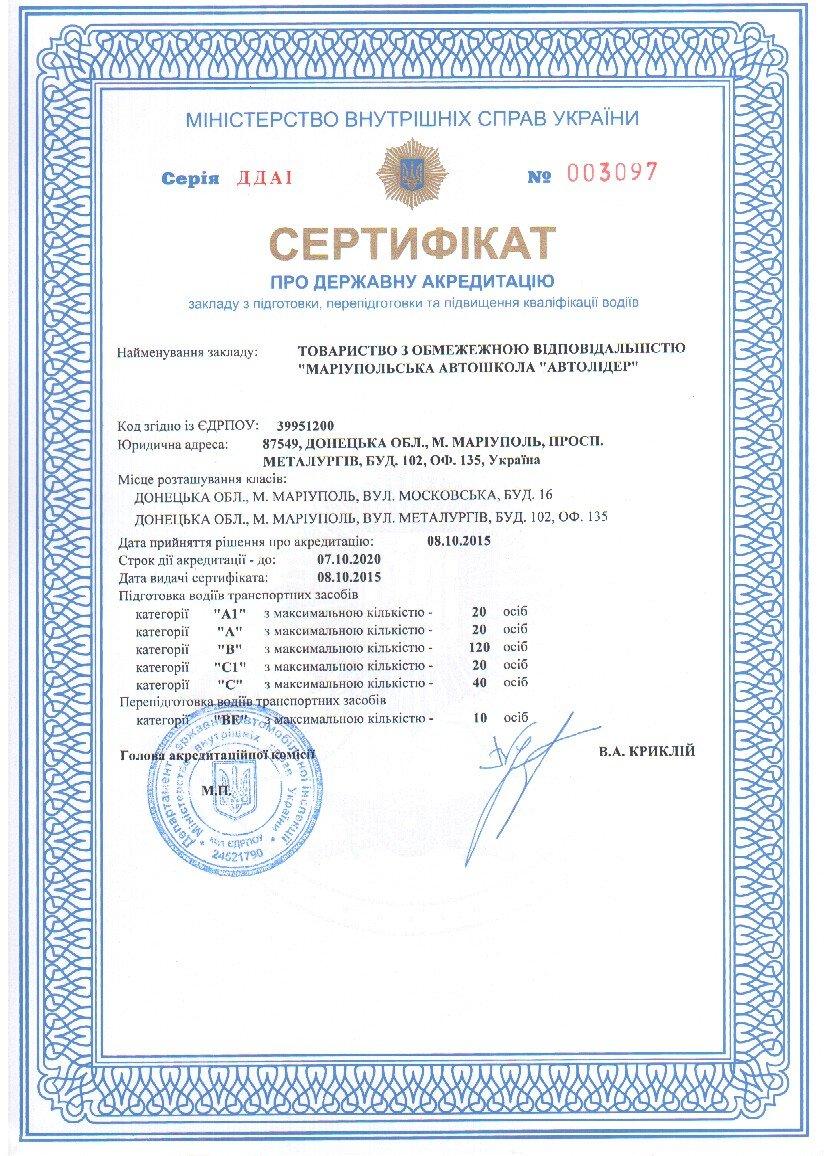 Сертификат на классы