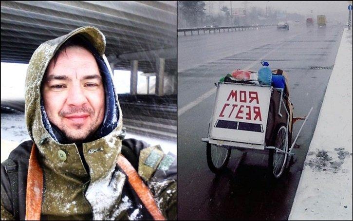 Гродненец Сергей Мороз, как и обещал, 1 марта отправился в свое пешее путешествие длиной 30 000 километров (фото) - фото 1