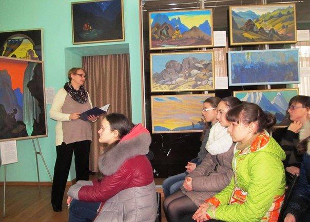 Школьники посетили выставку картин Николая Рериха в музее космонавта Г.Берегового, фото-1