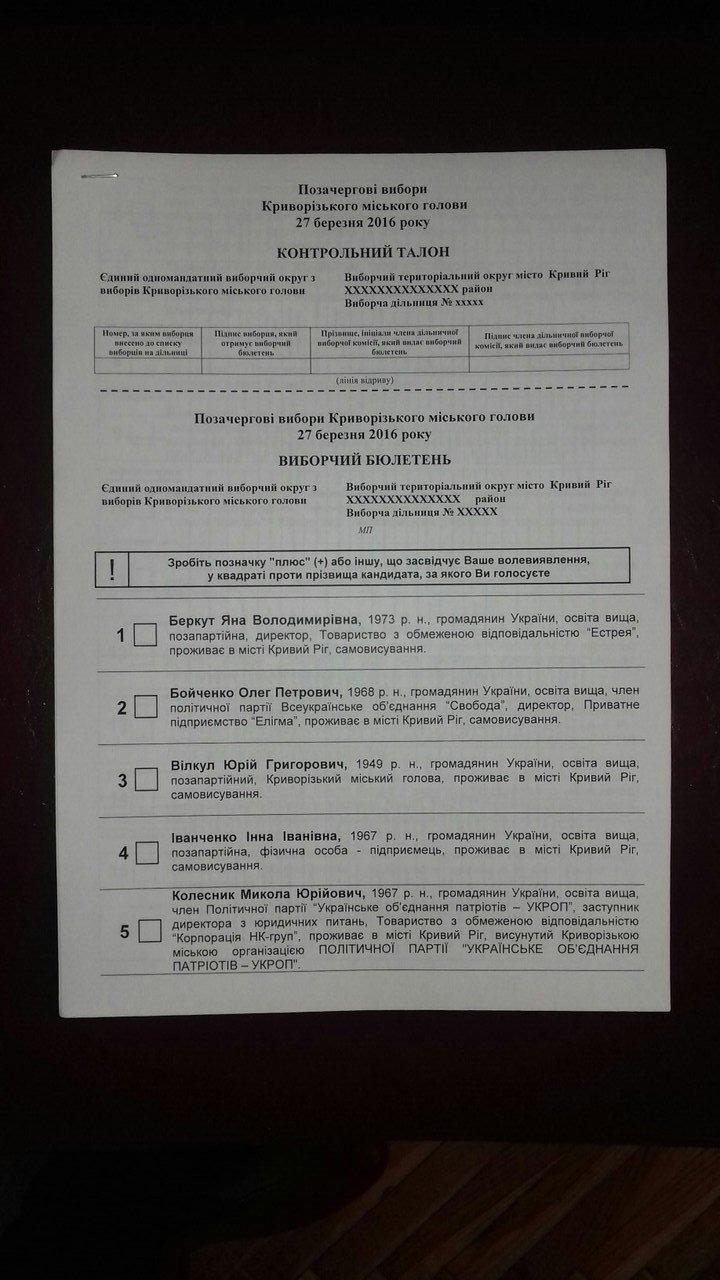 Горизбирком Кривого Рога утвердил текст избирательного бюллетеня (ФОТО) (фото) - фото 1