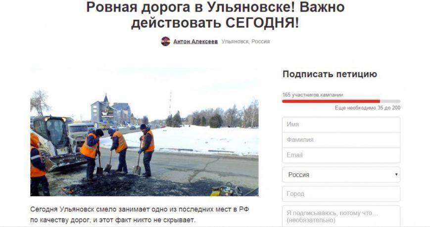 Ульяновские водители через петиции требуют отремонтировать дороги, фото-1