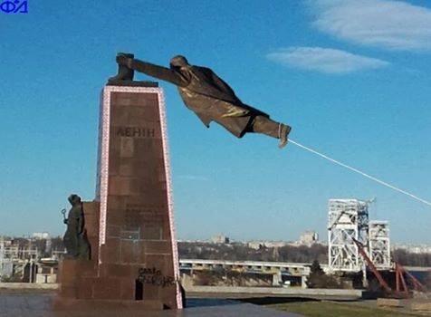 В Запорожье демонтируют самого большого Ленина в Украине: онлайн-трансляция (обновляется), фото-39