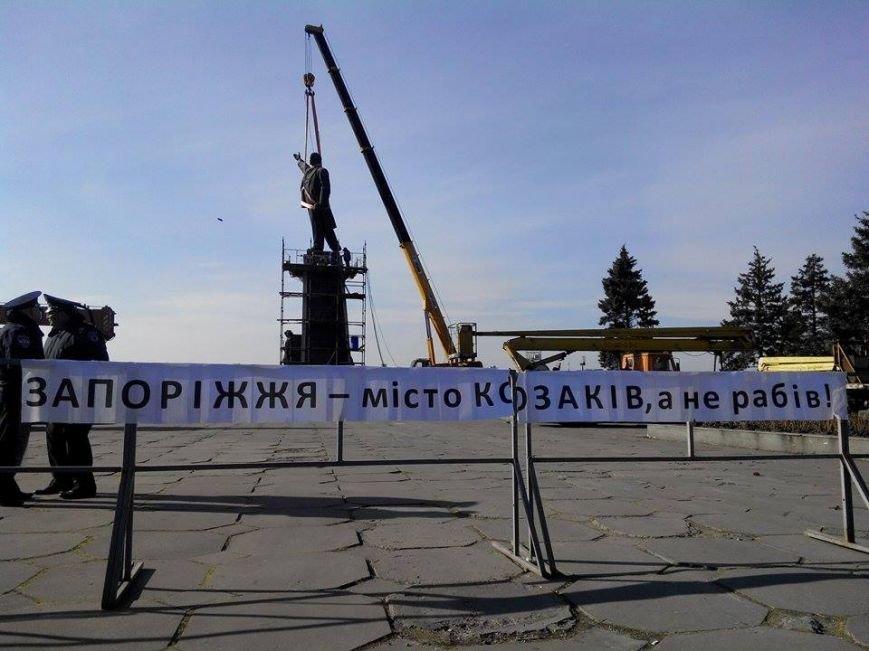 В Запорожье демонтируют самого большого Ленина в Украине: онлайн-трансляция (обновляется), фото-113