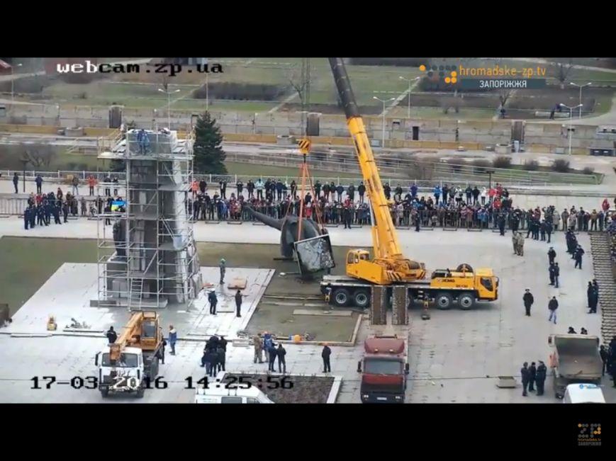 В Запорожье демонтируют самого большого Ленина в Украине: онлайн-трансляция (обновляется), фото-10