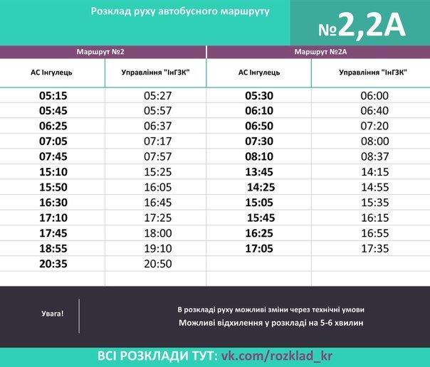 автобусы 2 и 2-а, Ингулец. с 14 марта 2016 г.