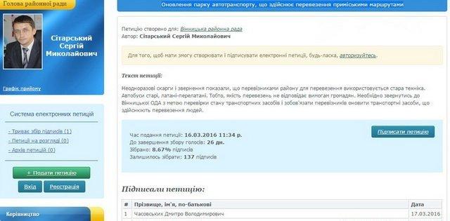 На сайті Вінницької райради з'явилась перша петиція. Сітарський сам в себе просить вирішити питання маршруток (фото) - фото 1