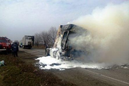 На трассе «Кривой Рог — Николаев» сгорел грузовой автомобиль