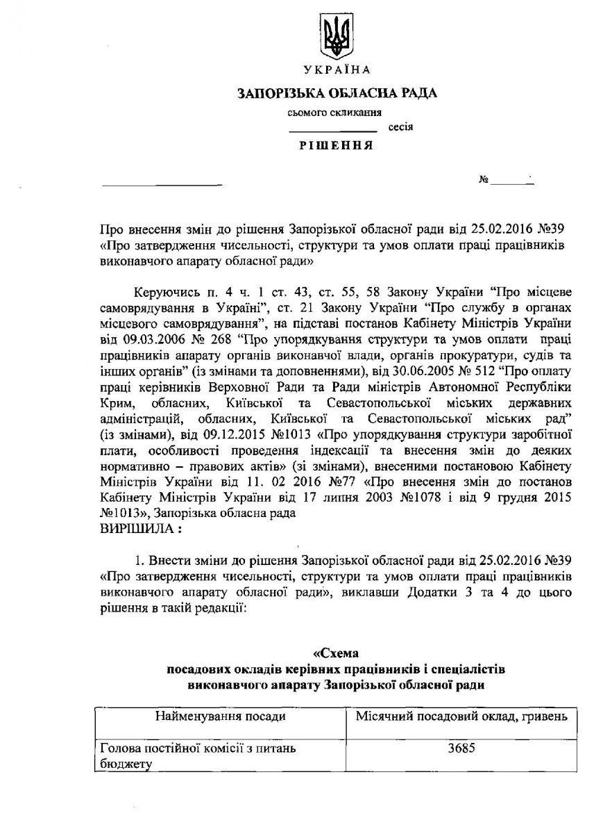 В Запорожском облсовете рассказали, сколько получают их сотрудники (ДОКУМЕНТ) (фото) - фото 1