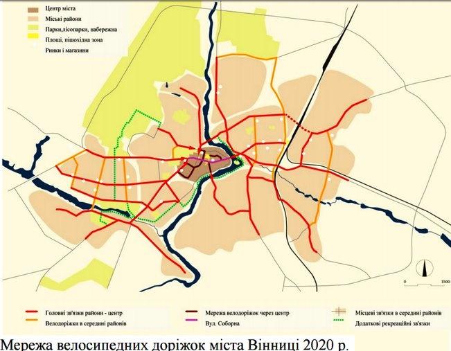 У Вінниці буде майже 100 км шляху для «залізних коней». Карта велодоріжок міста (фото) - фото 1