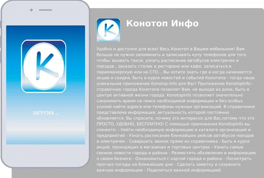 В Конотопе создали городской информационный мобильный  справочник Конотоп-Инфо для мобильных устройств (фото) - фото 1