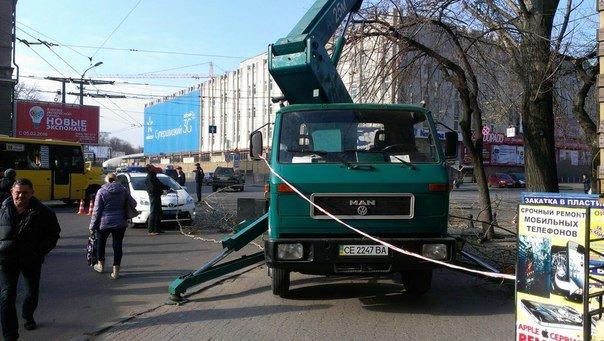В Одессе автовышка из Черновцов режет деревья на Пантелеймоновской (ФОТО) (фото) - фото 1