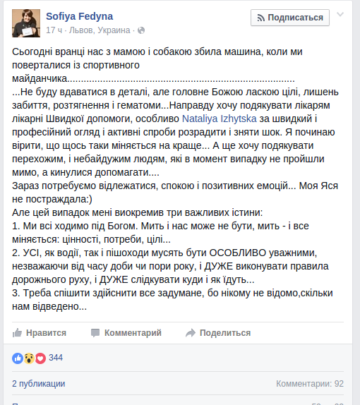Під колеса автівки у Львові потрапила відома співачка та волонтерка Софія Федина, фото-1
